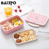 Baispo Microwavable Lunch box Wheat straw Cartoon bento box Portable Eco-friendly Food Container Lunchbox For kids School Picnic