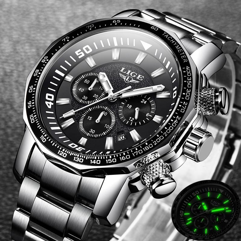 Clearance SaleLIGE Waterproof Watch Clock Quartz Military Sport Top-Brand Full-Steel Luxury Mens Relogio