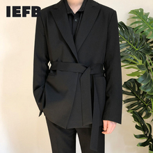 Black Suit Blazers Coat Belt-Design Handsome Casual Small Autumn Wear IEFB with 9Y90001