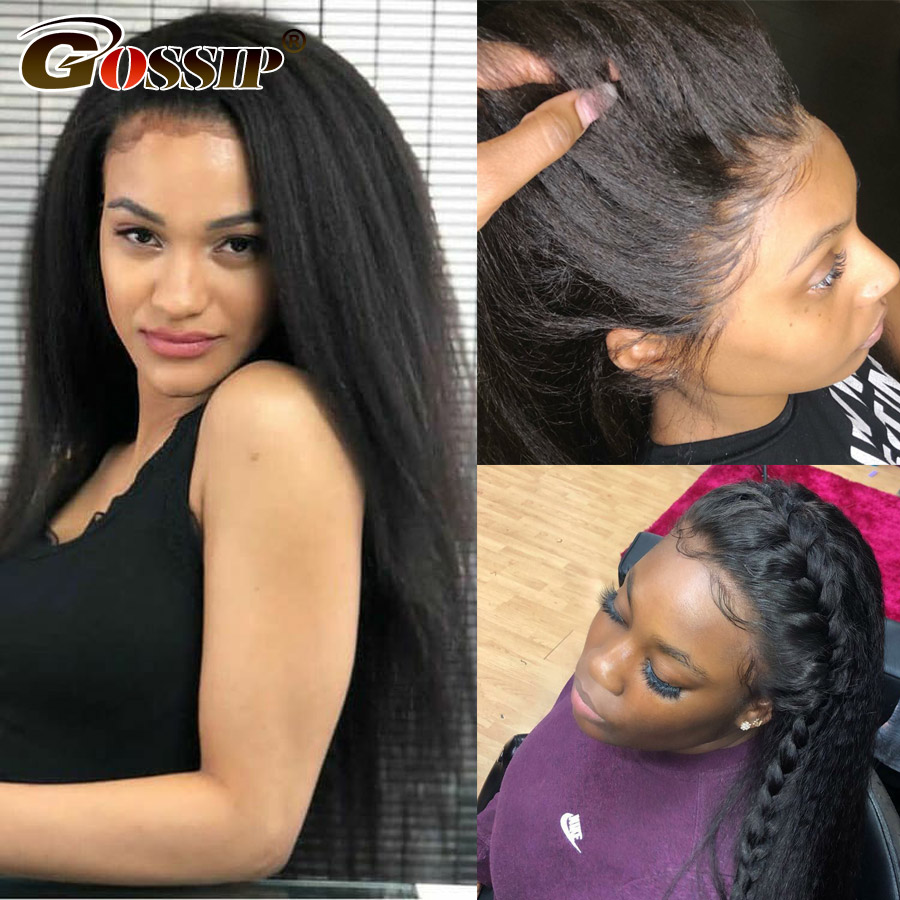 250% Density Lace Wig 13x6 Kinky Straight Lace Front Wig Glueless Brazilian Remy Lace Front Human Hair Wigs For Black Women