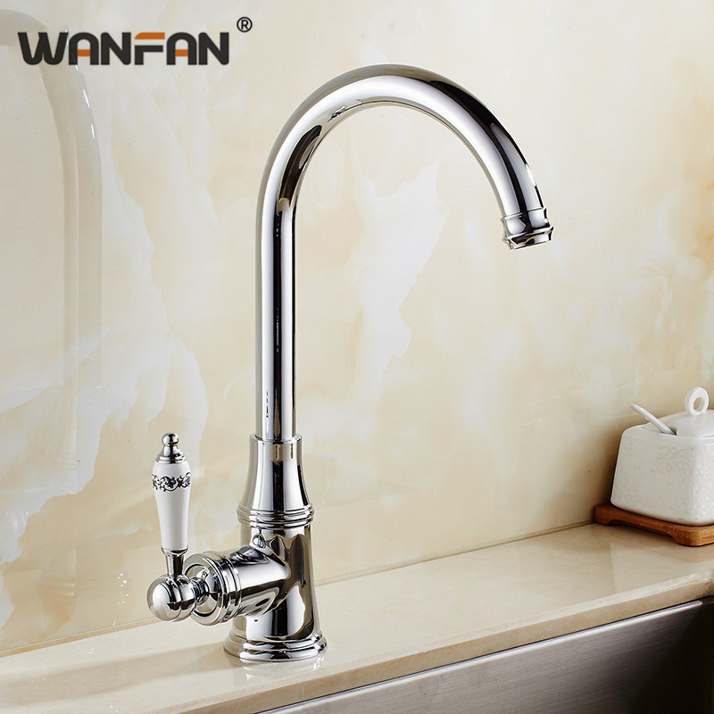 Permalink to Kitchen Faucets Single Lever Faucet 360 Rotate Deck Mounted Kitchen Faucet Chrome Single Holder Single Hole Mixers Taps N22-106