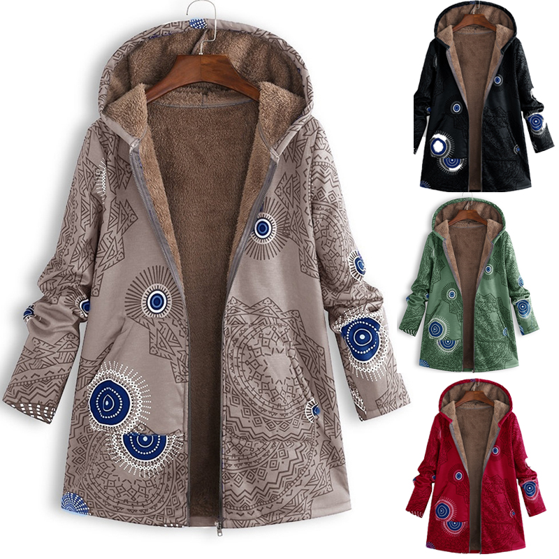 Warm Coat Hooded Women Parkas Floral Vintage Plus-Size Outwear Pocket Thick Cotton Casual
