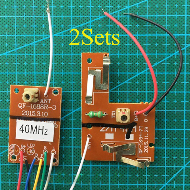 2Sets Toy <font><b>RC</b></font> Car Parts 4CH <font><b>40Mhz</b></font> Remote Control Board+<font><b>Receiver</b></font> Boards+Antenna Kit Wireless System 3V Transmitter 10m Distance image