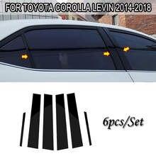 Jeu de garniture de pilier de fenêtre, 6 pièces, noir, garniture de porte, pour Toyota Corolla Levin 2014 – 18