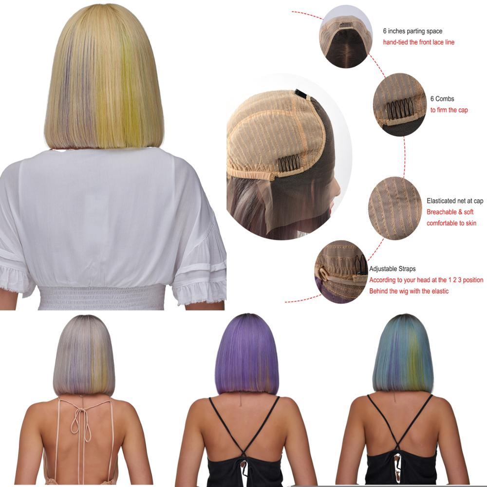 AW 10''12'' Lace Front Remy Human Hair Wig HD Transparent Pre Plucked Hairline Rainbow Color Bob Wig For Women 150% Density