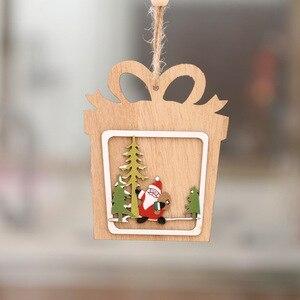Image 4 - 1 pc nova árvore de natal ornamentos pendurado árvore de natal decoração de festa em casa 3d pingentes alta qualidade pingente de madeira decoração cor