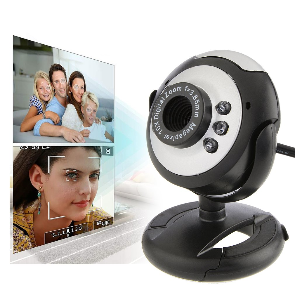 Usb Video Web Camera Six Lights Night Vision Drive-free Clip Camera Computer Webcam With MIC For PC Laptop Camera