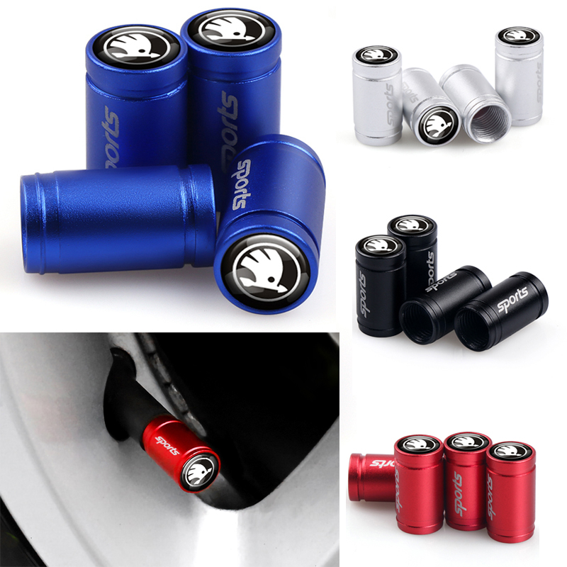 4pcs Sport Emblem Wheel Tire Valves Tyre Stem Air Caps Case For Skoda Octavia Fabia Rapid Yeti Kodiaq Superb A 5 A 7 2