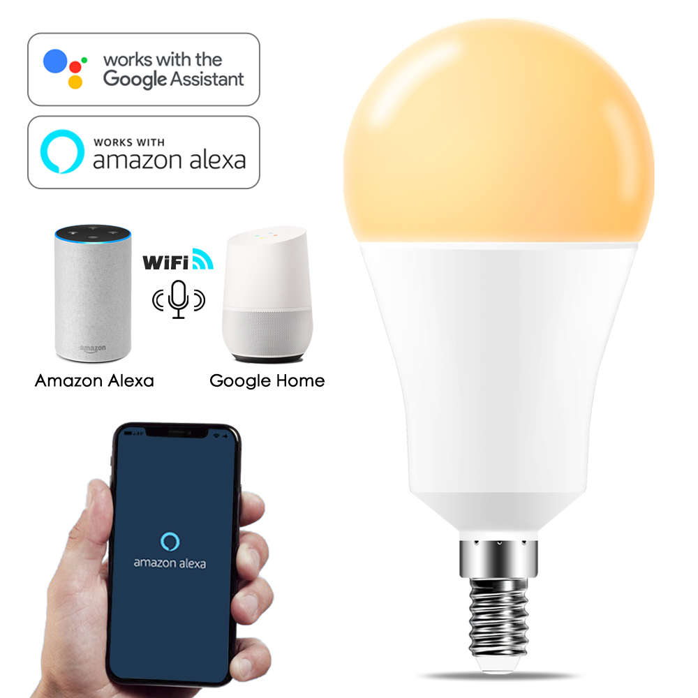 Dimmable 15W E14 WiFi Smart Light Bulb LED Lamp App Operate Alexa Google Assistant Voice Control Wake Up Smart Lamp Nightlight