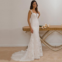 Elegant Wedding Dress Lace Sweetheart Bridal Gown Column With Beaded Lace Appliques vestido de noiva Custom Made