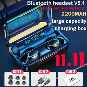 TWS Bluetooth 5.1 Earphones 2200mAh Charging Box Wireless Headphone 9D Stereo Sports Waterproof Earbuds Headsets With Microphone