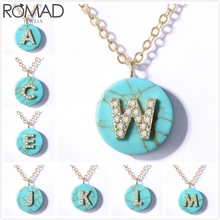 ROMAD Natural Stone Necklace Women Initial Letter Zircon Cyrstal Pendant Long Girl Sweater Chain R5