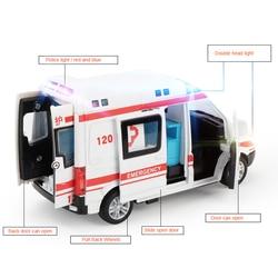 1:32 Hoge Ziekenhuis Simulatie Ambulance Ziekenhuis Redding Metalen Auto Model Pull Back Met Geluid En Licht Legering Diecast Auto Speelgoed