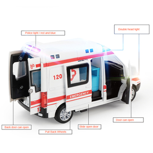 1:32 High Hospital Simulation Ambulance Hospital Rescue Metal Cars Model Pull Back With Sound and Light Alloy Diecast Car Toys