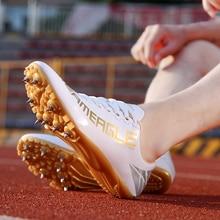 Профессиональная спортивная обувь для бега для мужчин, женщин и детей, кроссовки для бега с шипами черного и золотого цветов