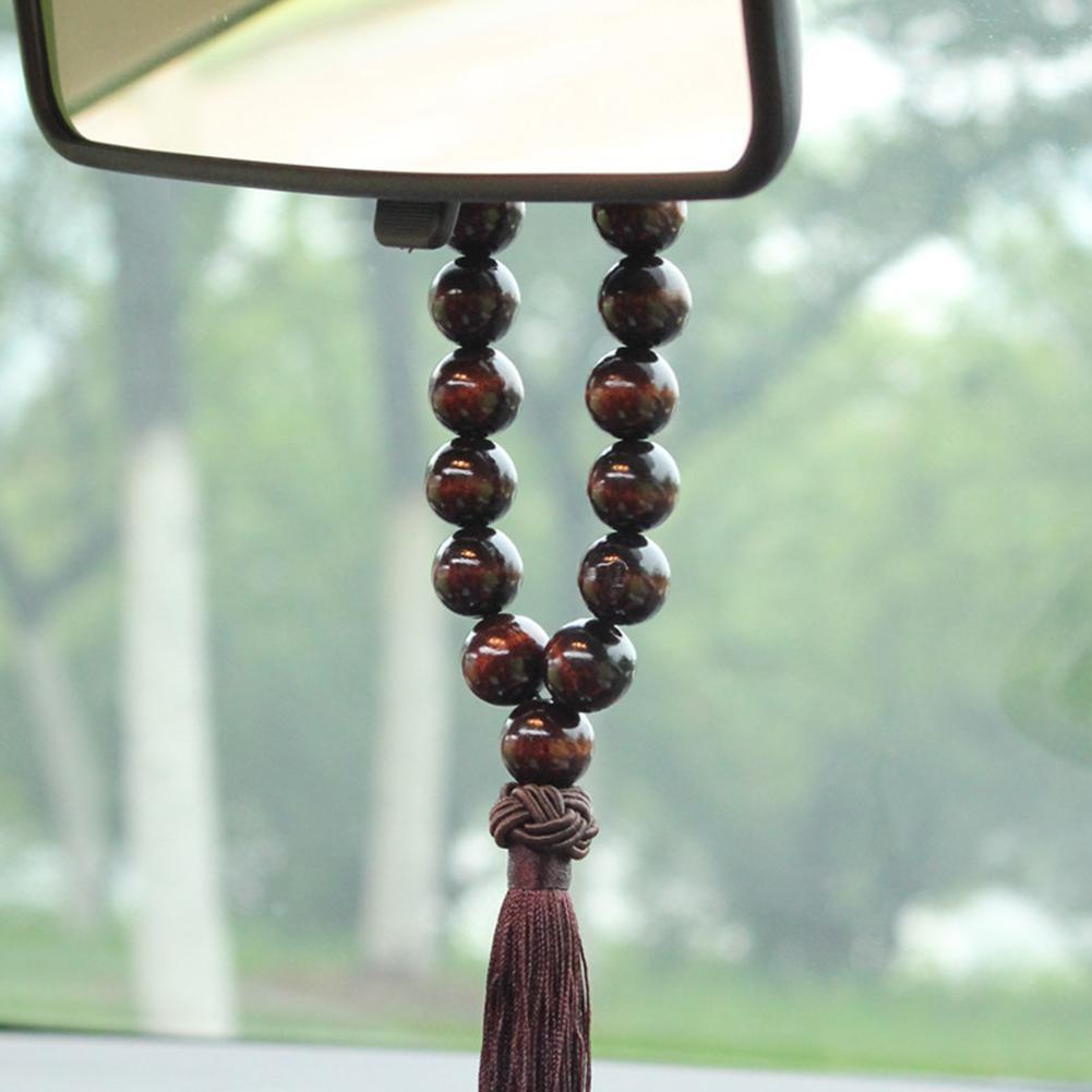 Car Mirror OrnamentsCreative Wood Buddha Beads Car Rearview Mirror Hanging Pendant Interior Decor Ornament