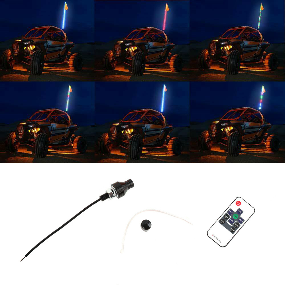 3/4/5ft RGB LED Lighted Antenna Light Whip Flag Remote For ATV UTV Polaris RZR Buggy