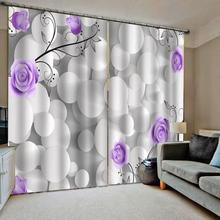3D stereoscopic Photo Painted Curtain Living room stone purple curtains flower blackout curtain