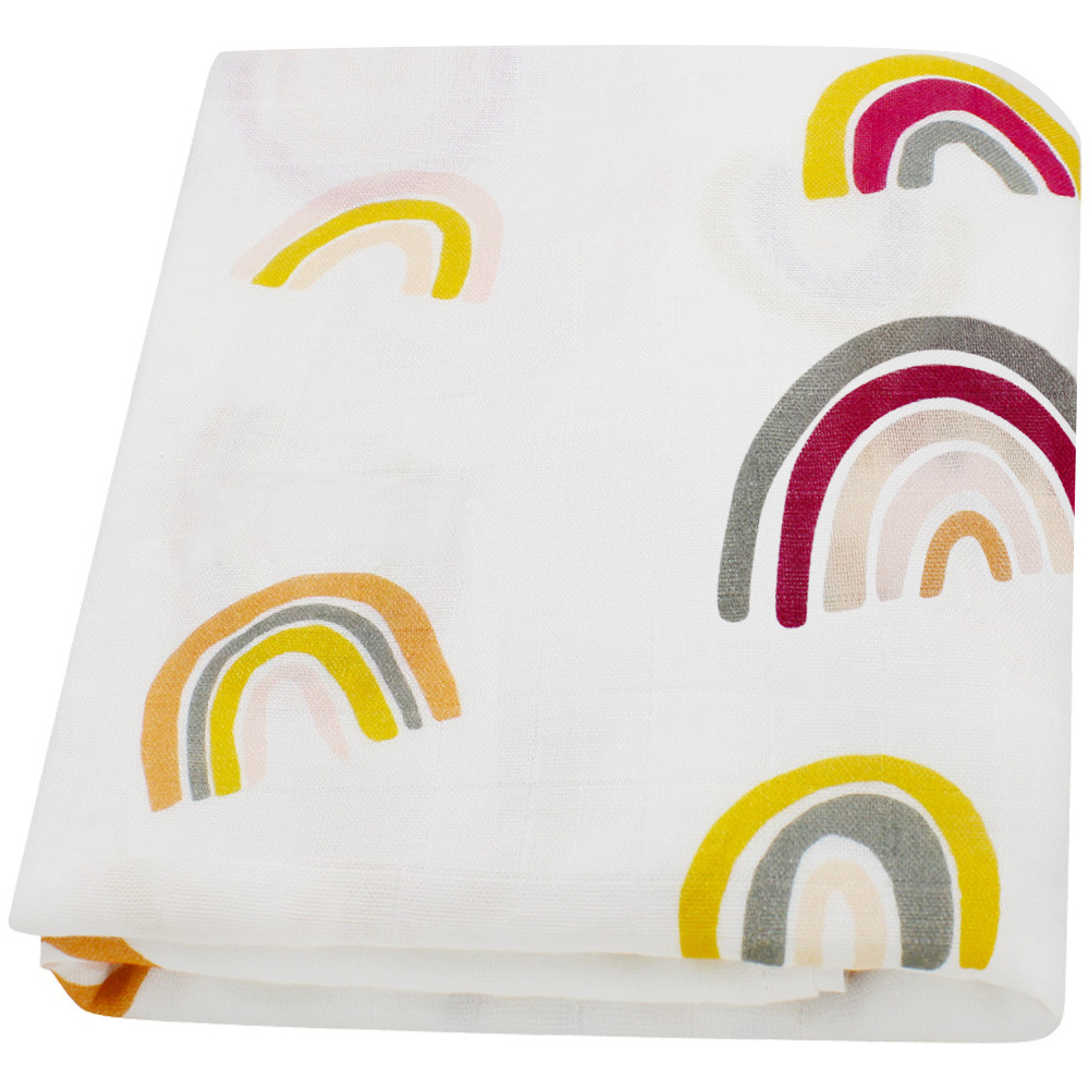 Baby Swaddle Blanket Unisex Swaddle Wrap Rainbow Bamboo Muslin Swaddle Blankets Neutral Receiving Blanket For Boys Girls