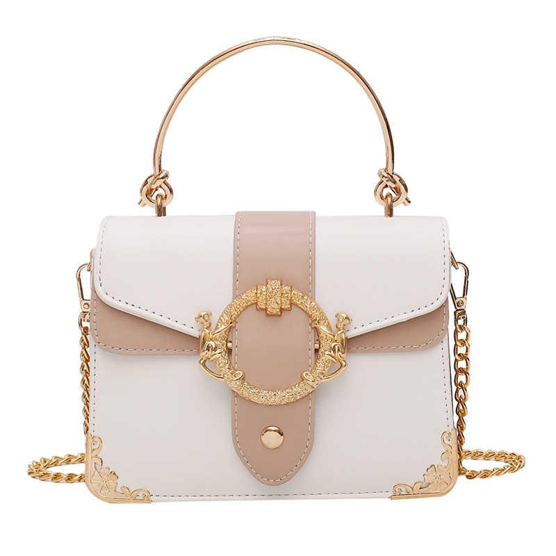 Хит продаж, квадратная сумка-тоут YL контрастных цветов через плечо с металлической ручкой, качественная женская сумочка из искусственной кожи, сумки-мессенджеры на плечо с цепочкой