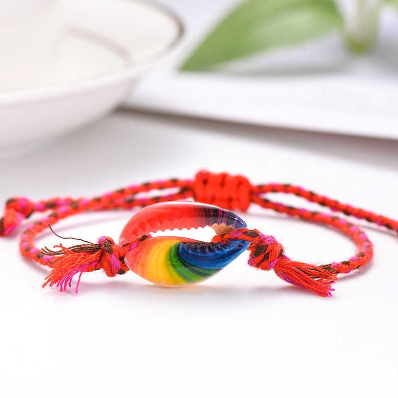 Pipitree Sea Shell Charm bransoletka Handmade czeski drukuj liny plecione bransoletki dla kobiet mężczyzn dzieci Boho plaża biżuteria prezent
