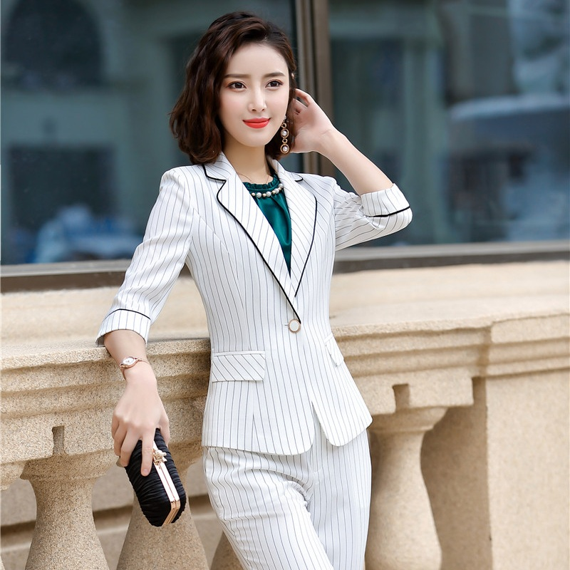 Female Elegant Formal Office Work Wear OL Ladies Black Blue Gray Striped Blazer Women Jackets Clothes Uniform Styles Half Sleeve