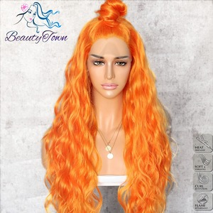 Image 2 - BeautyTown Orange Yellow Natural Curly Wave Heat Resistant Hair Women Makeup Wedding Party Gift Synthetic Lace Front Daily Wigs