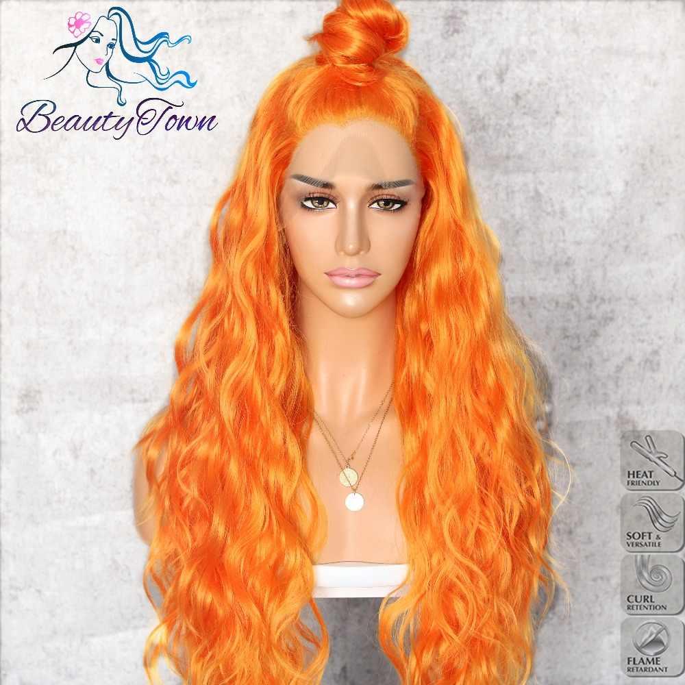 BeautyTown pomarańczowy żółty naturalny kręcone fala żaroodporne włosy kobiety makijaż Wedding Party prezent syntetyczna koronka przodu codzienne peruki