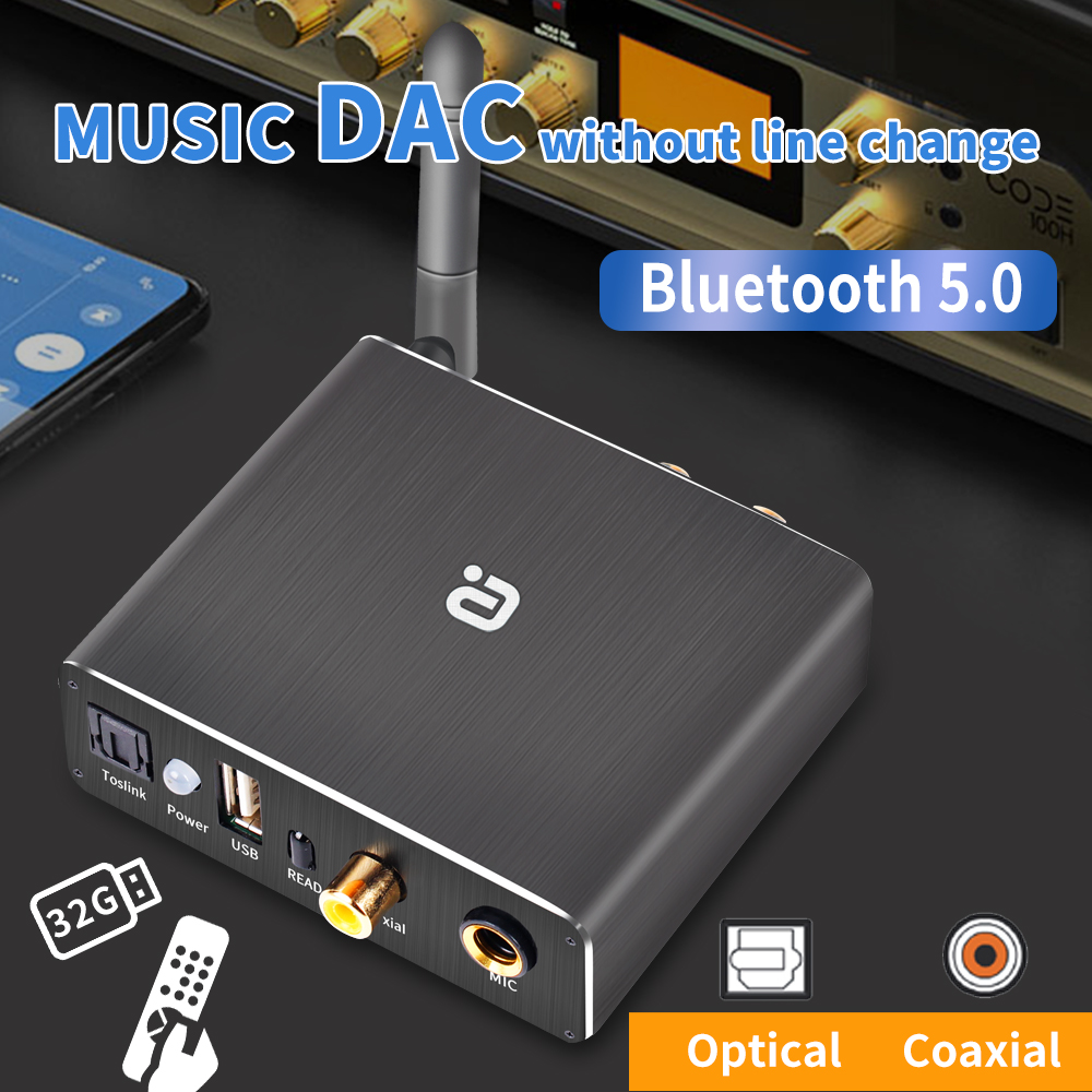 Wireless Bluetooth 5 0 Receiver Audio DAC Converter U-disk Player KTV microphone Optical Coaxial To 3 5mm RCA Aux Music Adapter
