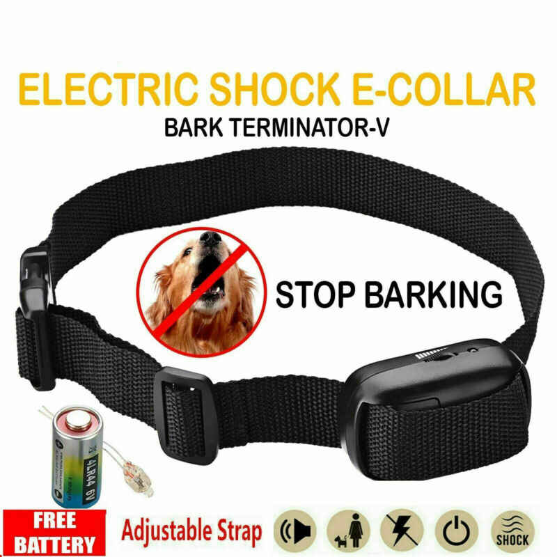 Adjustable Electric Dog bark shock collar Humane anti bark collar rechargeable for small medium dogs Black