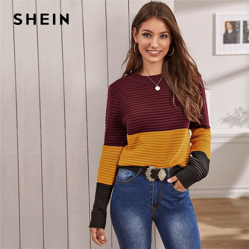 SHEIN Multicolor Color Block Rib-knit Soft Warm Sweater Women Autumn Winter Streetwear Round Neck Long Sleeve Casual Sweaters 1