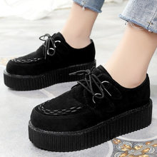 2020 Women Flats Platform Shoes Women Casual Shoes Suede Female Shoes Lace Up Flat Shoes Women Loafers Black Footwear Creeper(China)