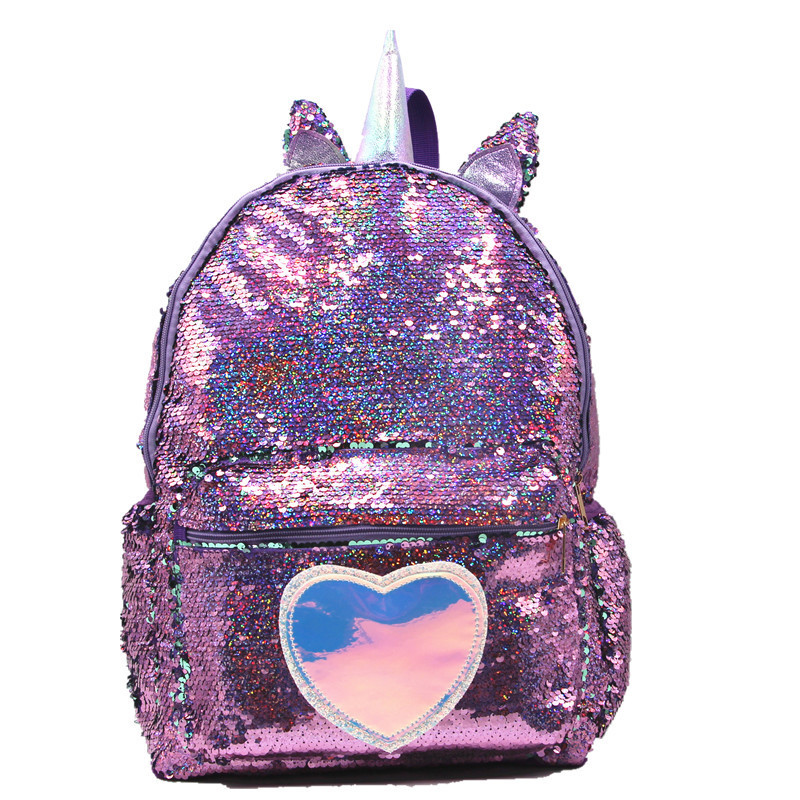 Unicorn Large Capacity Student School Bag Girls Cute Sequins Backpack Patchwork Glitter Bagpack Casual Heart Rucksack Travel Bag