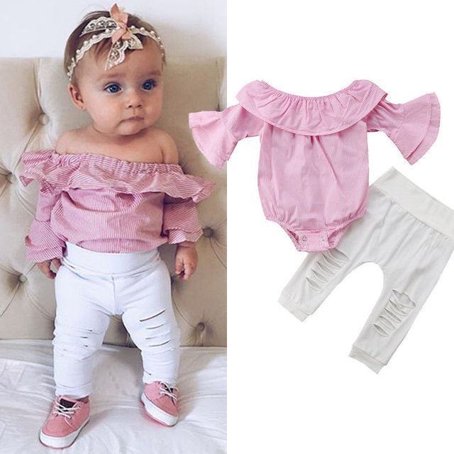 2PCS Baby Girls Clothing Set Girls Off Shoulder Romper +White Ripped Jeans Pants Infant Pink Outfits Newborn Clothes Sets