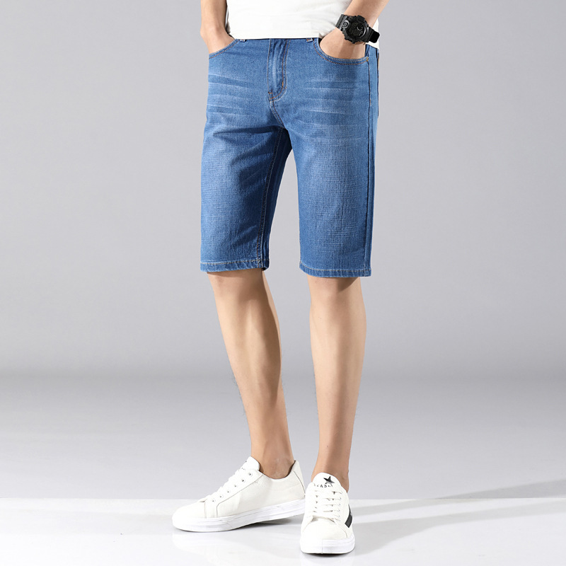 Denim Shorts Men Summer Thin Section Shorts Men's Breeches Elasticity Faded Bermuda Shorts Straight-Cut Large Size Pants