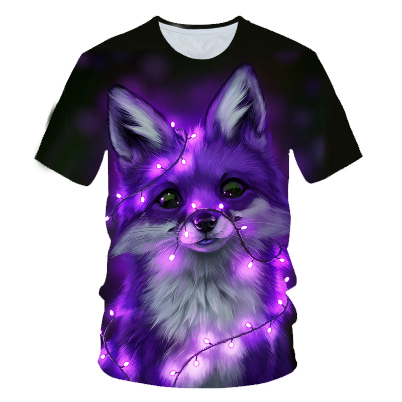 3D Children's Fashion T-shirt Animal Wolf/multi-color Fox Personality 4t-14t Fashion Boys And Girls High Quality Short Sleeves