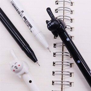 Image 5 - Черная ручка с наконечником для письма, 0,5 мм, 50 шт., гелевая чернильная ручка с котом, ручка для учеников, школы, офиса, длина 170 мм, внешняя ручка с котом