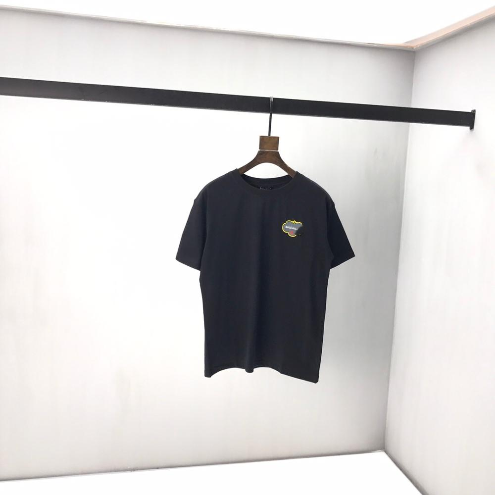 2020 Spring Summer Women's Paris  Letter Embroidery Cotton Black Short Sleeve Men T-shirt B43