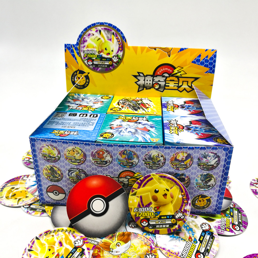 TAKARA TOMY Toys Pokemon Round Cards 288pcs Shining Pikachu Flash Card Collections 12pcs/box 24box/set Board Game For Kids