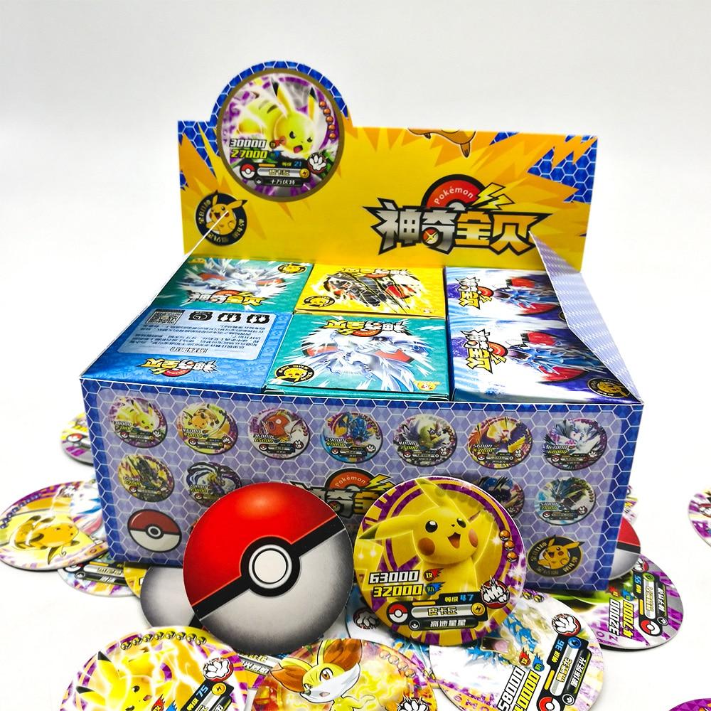 TAKARA TOMY jouets Pokemon cartes rondes 288 pièces brillant Pikachu cartes Flash Collections 12 pièces/boîte 24 box/ensemble jeu de société pour les enfants