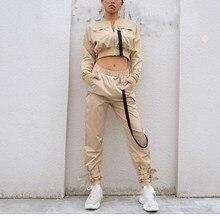Women Outerwear Crop Bomber Jacket Long Sleeve Streetwear Autumn Pocket Zipper Coat Female