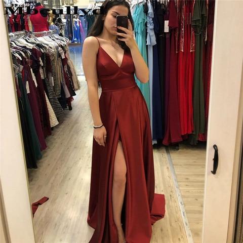 Longo de Baile Decote em v Formal de Noite Mbcullyd Vestido Borgonha Fenda Alta Barato 2020 Soiree