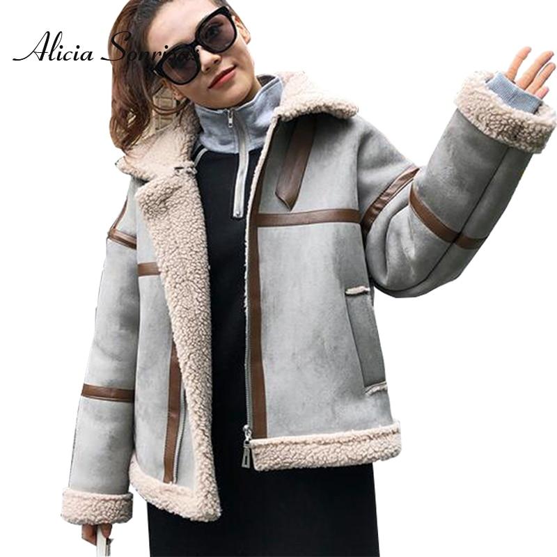 Faux Shearling Sheepskin Coats Women Thick Suede Jackets Women Autumn Winter Lambs Wool Short Motorcycle Coats AS101301