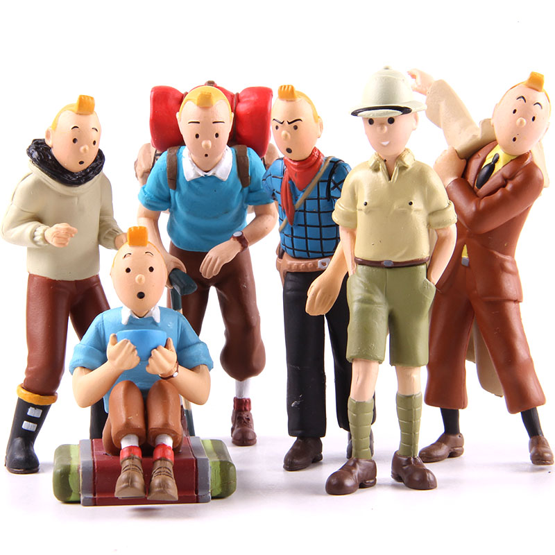 Classic Cartoon The Adventures Of Tintin Tin Tin Figures PVC Action Figure Collectible Model Toys Dolls 6pcs/set