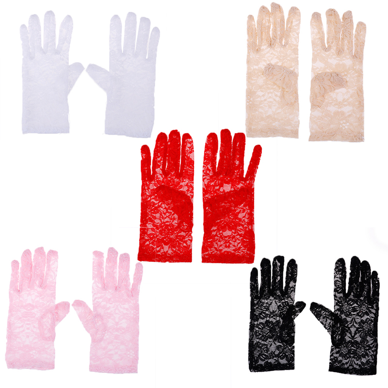 1Pair Spring And Summer Female Sexy Lace Driving Gloves Women's Thin Lace Sunscreen Gloves Lady's Short Uv Protection Gloves