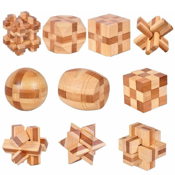 10 Pcs/Set 3d Handmade Vintage Ming Lock Luban Lock Wooden Toys Adults Puzzle Children Adult Christmas Gift