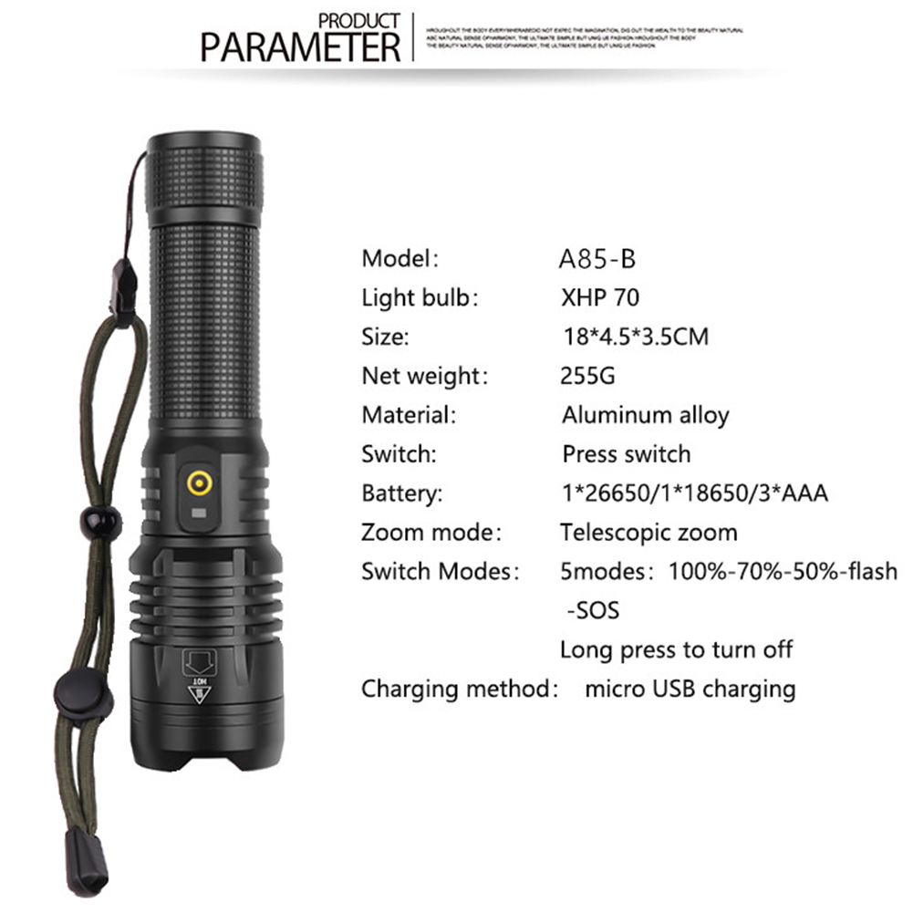 200000LM XHP70 LED 18650 Zoomable Torch Flashlight Bright USB Rechargeable XHP 70 Rechargeable Flashlight USB Charger Torch