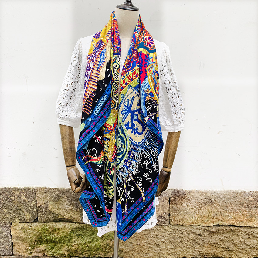 Women Winter Blanket   Scarf   Fabulous Print Silk Cashmere   Scarves     Wraps   Cape Poncho