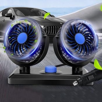 Auto podwójny wentylator do samochodów Auto Interieur akcesoria 360 graden-ronde Koeling akcesoria huśtawka wentylator Ventilatie Board Zomer 12V 24V