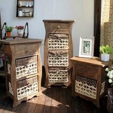 Креативный шкаф для хранения в американском стиле из цельного дерева, винтажная мебель, деревянный ящик, комод для хранения в спальню